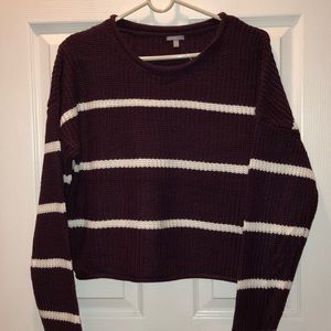 Charlotte Russe Maroon Striped Sweater
